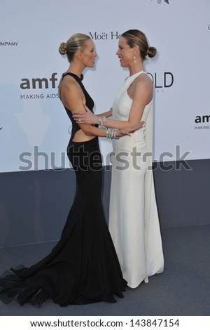 CANNES, FRANCE - MAY 23, 2013: Karolina Kurkova (left) & Eva Herzigova at amfAR's 20th Cinema Against AIDS Gala at the Hotel du Cap d'Antibes, France  - stock photo