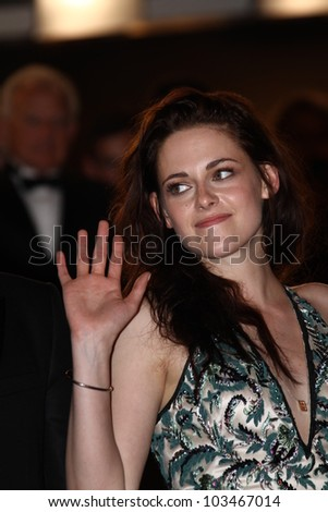 CANNES, FRANCE - MAY 23: Kristen Stewart attends the 'On The Road' Premiere during the 65th Annual Cannes Film Festival at Palais des Festivals on May 23, 2012 in Cannes, France. - stock photo