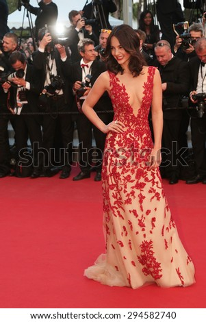Cannes, France - May 16, 2015: Laetitia Guarino attends the Premiere of 'The Sea Of Trees' during the 68th annual Cannes Film Festival on May 16, 2015 in Cannes, France.  - stock photo
