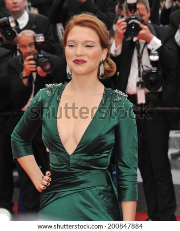 "CANNES, FRANCE - MAY 17, 2014: Lea Seydoux at gala premiere of her movie ""Saint-Laurent"" at the 67th Festival de Cannes.  - stock photo"