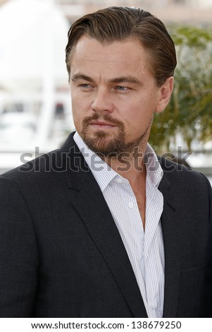 CANNES, FRANCE - MAY 15: Leonardo DiCaprio at the photocall for 'The Great Gatsby' at The 66th Annual Cannes Film Festival at Palais des Festivals on May 15, 2013 in Cannes, France - stock photo