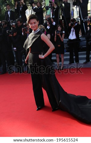 CANNES, FRANCE - MAY 23: Li Yuchun  attend the 'Clouds Of Sils Maria' premiere at the 67th Annual Cannes Film Festival on May 23, 2014 in Cannes, France. - stock photo