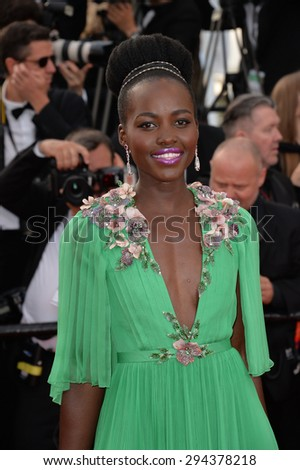CANNES, FRANCE - MAY 13, 2015: Lupita Nyong'o at the gala opening ceremony of the 68th Festival de Cannes. - stock photo