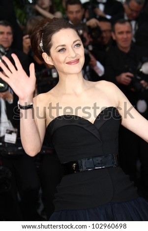 CANNES, FRANCE - MAY 17: Marion Cotillard attends the 'De Rouille et D'os' Premiere during the 65th  Cannes Film Festival at Palais des Festivals on May 17, 2012 in Cannes, France. - stock photo