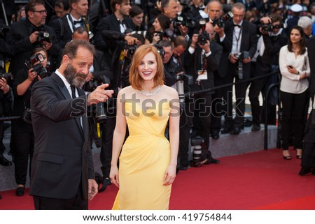 Cannes, France - 11 MAY 2016 - Melvil Poupaud, Vitrginie Effra, Vincent Lacoste and guests attend the screening of 'Cafe Society' at the opening gala of the annual 69th Cannes Film Festival - stock photo