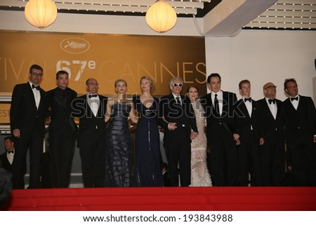 CANNES, FRANCE - MAY 19: Mia Wasikowska, David Cronenberg, Julianne Moore and John Cusack attend the 'Maps To The Stars' premiere during the 67th  Cannes Festival on May 19, 2014 in Cannes, France. - stock photo