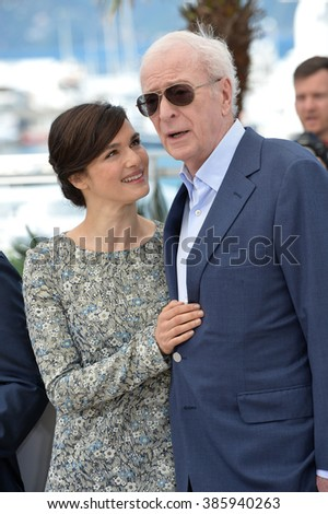 "CANNES, FRANCE - MAY 20, 2015: Michael Caine & Rachel Weisz at the photocall for their movie ""Youth"" at the 68th Festival de Cannes."
