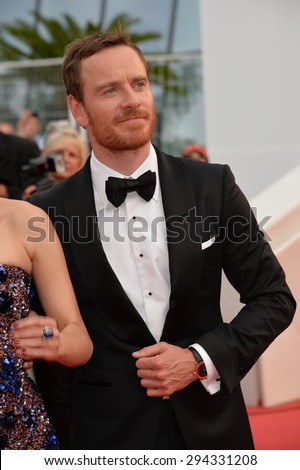 "CANNES, FRANCE - MAY 23, 2015: Michael Fassbender at the gala premiere for his movie ""Macbeth"" at the 68th Festival de Cannes."