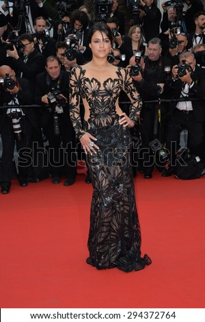 """CANNES, FRANCE - MAY 14, 2015: Michelle Rodriguez at the gala premiere of """"Mad Max: Fury Road"""" at the 68th Festival de Cannes. - stock photo"""