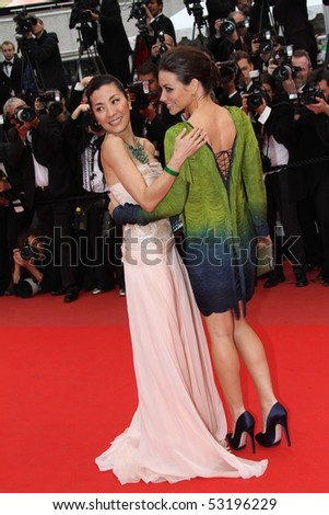 CANNES, FRANCE - MAY 15: Michelle Yeoh and Evangeline Lilly  attend the 'You Will Meet A Tall Dark Stranger' the Palais  during the 63rd Cannes  Festival on May 15, 2010 in Cannes, France - stock photo