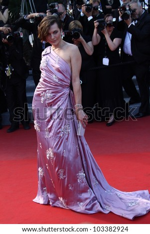 CANNES, FRANCE - MAY 23: Milla Jovovitch attends the 'On The Road' Premiere during the 65th Annual Cannes Film Festival at Palais des Festivals on May 23, 2012 in Cannes, France. - stock photo