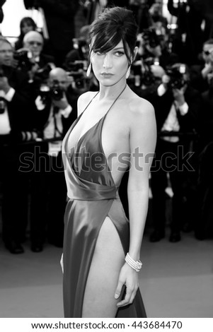 CANNES, FRANCE - MAY 18: Model Bella Hadid attends 'The Unknown Girl' Premiere during the 69th Cannes Film Festival on May 18, 2016 in Cannes - stock photo