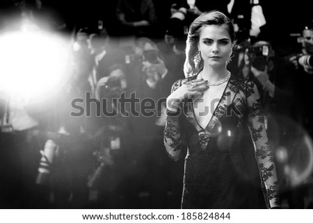 CANNES, FRANCE - MAY 15: Model Cara Delevingne attends the Opening Ceremony during the 66th Annual Cannes Film Festival on May 15, 2013 in Cannes, France.  - stock photo