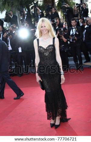 CANNES, FRANCE - MAY 20: Model Claudia Schiffer attends the 'This Must Be The Place' premiere during the 64th Annual Cannes Film Festival at Palais des Festivals on May 20, 2011 in Cannes, France - stock photo
