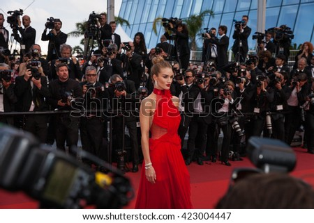 Cannes, France - 18 MAY 2016 - Model Rosie Huntington-Whiteley attends 'The Unknown Girl (La Fille Inconnue)' Premiere during the 69th annual Cannes Film Festival