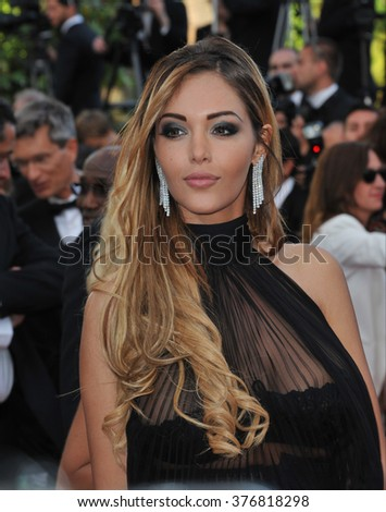 "CANNES, FRANCE - MAY 18, 2014: Nabilla Benattia at the gala premiere of ""The Homesman"" at the 67th Festival de Cannes."