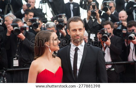 CANNES, FRANCE - MAY 13: Natalie Portman and Benjamin Millepied. Opening Ceremony 'La Tete Haute' Premiere. 68th Annual Cannes Film Festival at Palais des Festivals on May 12, 2015 in Cannes, France. - stock photo