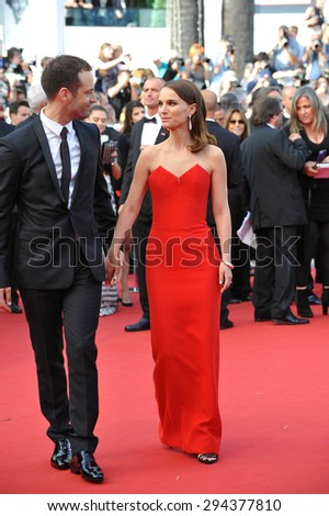 CANNES, FRANCE - MAY 13, 2015: Natalie Portman & husband Benjamin Millepied at the gala opening ceremony of the 68th Festival de Cannes.