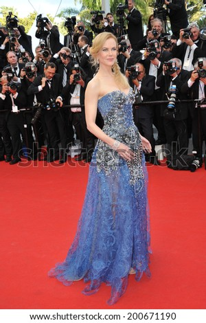 "CANNES, FRANCE - MAY 14, 2014: Nicole Kidman at the gala premiere of her movie ""Grace of Monaco"" at the 67th Festival de Cannes.  - stock photo"