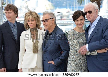 "CANNES, FRANCE - MAY 20, 2015: Paul Dano (left), Jane Fonda, Harvey Keitel, Rachel Weisz & Michael Caine at the photocall for their movie ""Youth"" at the 68th Festival de Cannes."