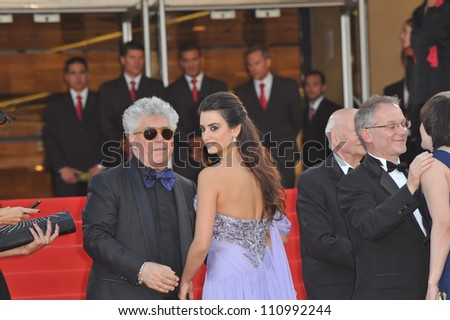 """CANNES, FRANCE - MAY 19, 2009: Penelope Cruz & Pedro Almodovar at the premiere of their new movie """"Broken Embraces"""" in competition at the 62nd Festival de Cannes. - stock photo"""