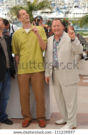 "CANNES, FRANCE - MAY 13, 2009: Pete Docter & John Lasseter (right) at photocall for their new movie ""Up"" which is the opening movie for the 2009 Cannes Film Festival."