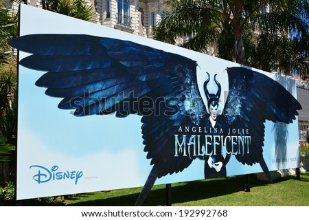 CANNES, FRANCE-MAY 14: Poster shown on may 14, 2014 in Cannes, France. Advertising during the International Film Festival for the fantastic american film, MALEFICENT, of Robert Stromberg. - stock photo