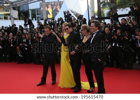 CANNES, FRANCE - MAY 23:Quentin Tarantino; Uma Thurman  attend the 'Clouds Of Sils Maria' premiere at the 67th Annual Cannes Film Festival on May 23, 2014 in Cannes, France. - stock photo