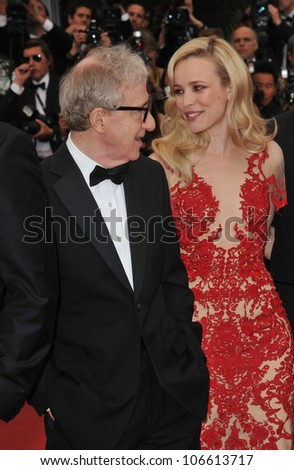 "CANNES, FRANCE - MAY 11, 2011: Rachel McAdams & Woody Allen at the gala premiere for their movie ""Midnight in Paris"" the opening film at the 64th Festival de Cannes. May 11, 2011  Cannes, France"