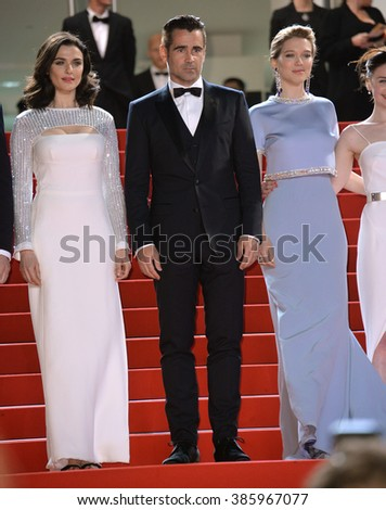 "CANNES, FRANCE - MAY 15, 2015: Rachel Weisz, Colin Farrell & Lea Seydoux at the gala premiere for their movie ""The Lobster"" at the 68th Festival de Cannes."