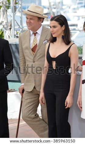 "CANNES, FRANCE - MAY 15, 2015: Rachel Weisz & John C. Reilly at the photocall for their movie ""The Lobster"" at the 68th Festival de Cannes."