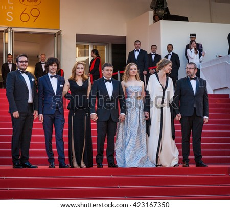 Cannes, France - 19 MAY 2016 - Rares Andrici, Malina Manovici, Cristian Mungiu, Maria Dragus, Adrian Titieni and Lia Bugnar on 'Graduation (Bacalaureat)' Premiere during the 69th  - stock photo