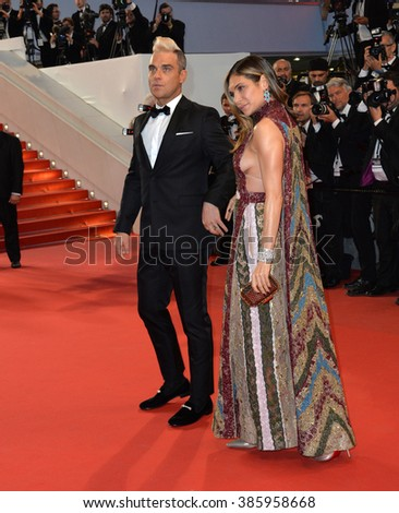 "CANNES, FRANCE - MAY 16, 2015: Robbie Williams & Ayda Field at the gala premiere of ""The Sea of Trees"" at the 68th Festival de Cannes. - stock photo"