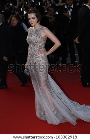 CANNES, FRANCE - MAY 23: Roxane Mesquida attends the 'On The Road' Premiere during the 65th Annual Cannes Film Festival at Palais des Festivals on May 23, 2012 in Cannes, France. - stock photo