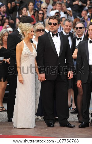 "CANNES, FRANCE - MAY 12, 2010: Russell Crowe & wife Danielle Spencer  at the premiere of his movie ""Robin Hood"" the opening film at the 63rd Festival de Cannes. - stock photo"