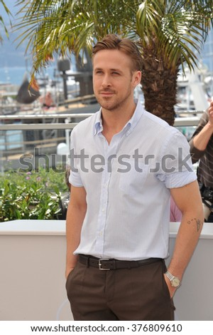"CANNES, FRANCE - MAY 20, 2014: Ryan Gosling at the photocall for his movie ""Lost River"" at the 67th Festival de Cannes. - stock photo"