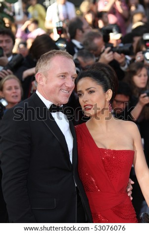 CANNES, FRANCE - MAY 14: Salma Hayek and her husband Francois Pinault  attends the  'Wall Street:  Money Never Sleeps' held at the Palais during the 63rd   Cannes Film Festival on May 14, 2010 in Cannes, France. - stock photo