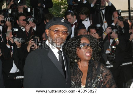 CANNES, FRANCE - MAY 19: Samuel L. Jackson  and wife actress LaTanya Richardson attend the 'Volver' premiere at the Palais  during the 59th  Cannes Film Festival May 19, 2006 in Cannes, France - stock photo