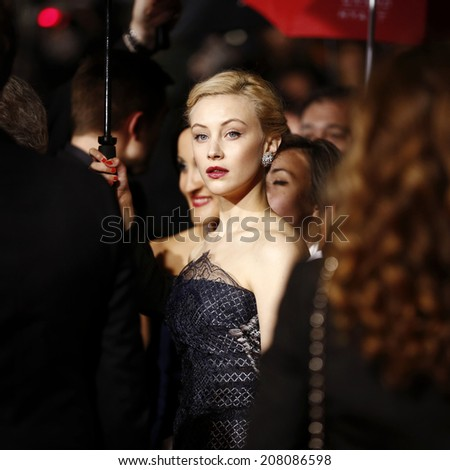 CANNES, FRANCE - MAY 19: Sarah Gadon attends 'The Maps To The Stars' premiere during the 67th Cannes Film Festival on May 19, 2014 in Cannes, France - stock photo