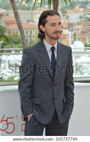 "CANNES, FRANCE - MAY 19, 2012: Shia LaBeouf at the photocall for his new movie ""Lawless"", in competition at the 65th Festival de Cannes. May 19, 2012  Cannes, France"