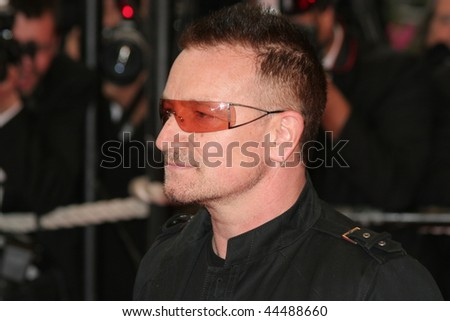 CANNES, FRANCE - MAY 16: Singer Bono attends the ' Un Conte de Noel ' Premiere at the Palais des Festivals during the 61st Cannes International Film Festival on May 16, 2008 in Cannes, France