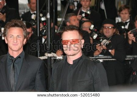 CANNES, FRANCE - MAY 16: Singer Bono   Sean Penn attend the 'Un Conte de Noel' premiere at the Palais des Festivals during the 61st Cannes International Film Festival on May 16, 2008 in Cannes, France