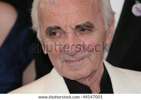 CANNES, FRANCE - MAY 13: Singer/songwriter Charles Aznavour attends the 'Up' Premiere at the Palais des Festivals during the 62nd Annual Cannes Film Festival on May 13, 2009 in Cannes, France.