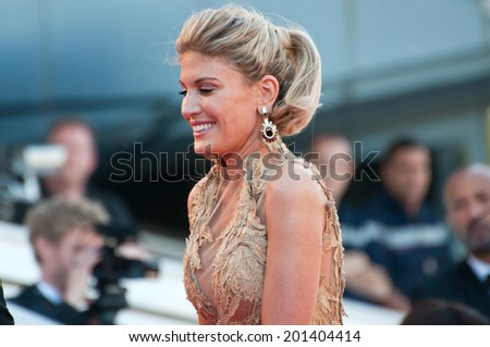 CANNES, FRANCE - MAY 15, 2014: Socialite Hofit Golan walks down the red carpet during the 67th Annual Cannes Film Festival on May 15, 2014 in Cannes, France. - stock photo