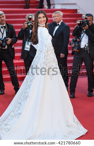 Cannes, France - 15 MAY 2016 - Sonam Kapoor attends the 'From The Land Of The Moon (Mal De Pierres)' premiere during the 69th annual Cannes Film Festival - stock photo