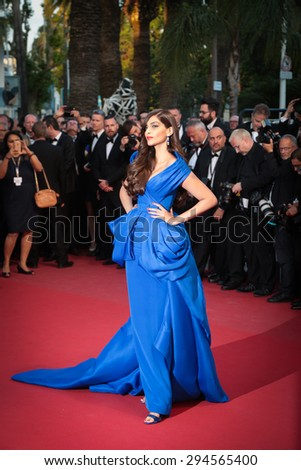 Cannes, France - May 16, 2015: Sonam Kapoor attends the 'Sea Of Trees' premiere during the 68th annual Cannes Film Festival on May 16, 2015 in Cannes, France. - stock photo