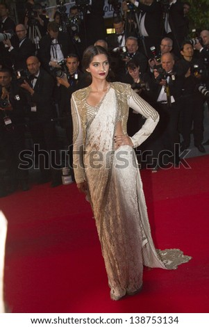 CANNES, FRANCE - MAY 15: Sonam Kapoor  'The Great Gatsby' Premiere during the 66th Annual Cannes Film Festival at the Theatre Lumiere on May 15, 2013 in Cannes, France. - stock photo