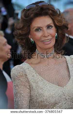 "CANNES, FRANCE - MAY 20, 2014: Sophia Loren at the gala premiere of ""Two Days, One Night"" at the 67th Festival de Cannes."
