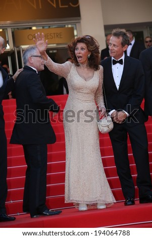 CANNES, FRANCE - MAY 20: Sophia Loren attends the 'Two Days, One Night' premiere at the 67th Annual Cannes Film Festival on May 20, 2014 in Cannes, France.