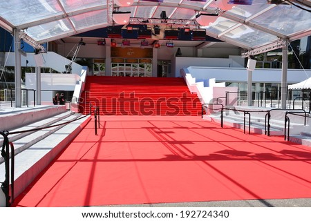 CANNES, FRANCE-MAY 14: Stair of Festival Palace shown on may 14, 2014 in Cannes, France. The red carpet for the famous ascent of steps of artists  of the 67th International Film Festival. - stock photo